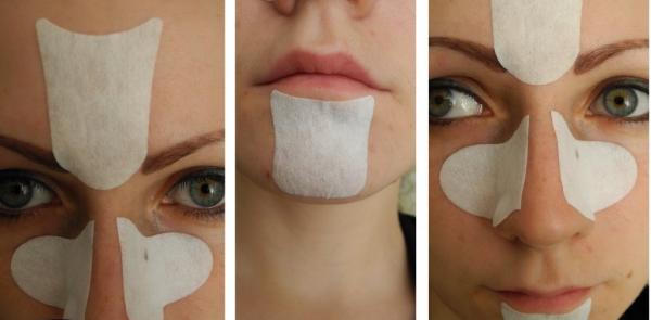 Очищающие полоски на разных областях лица