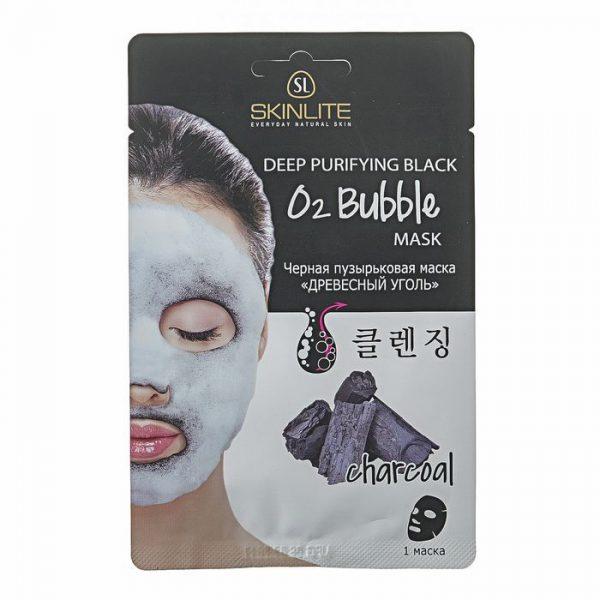 Чёрная пузырьковая маска «Древесный уголь» от Skinlite