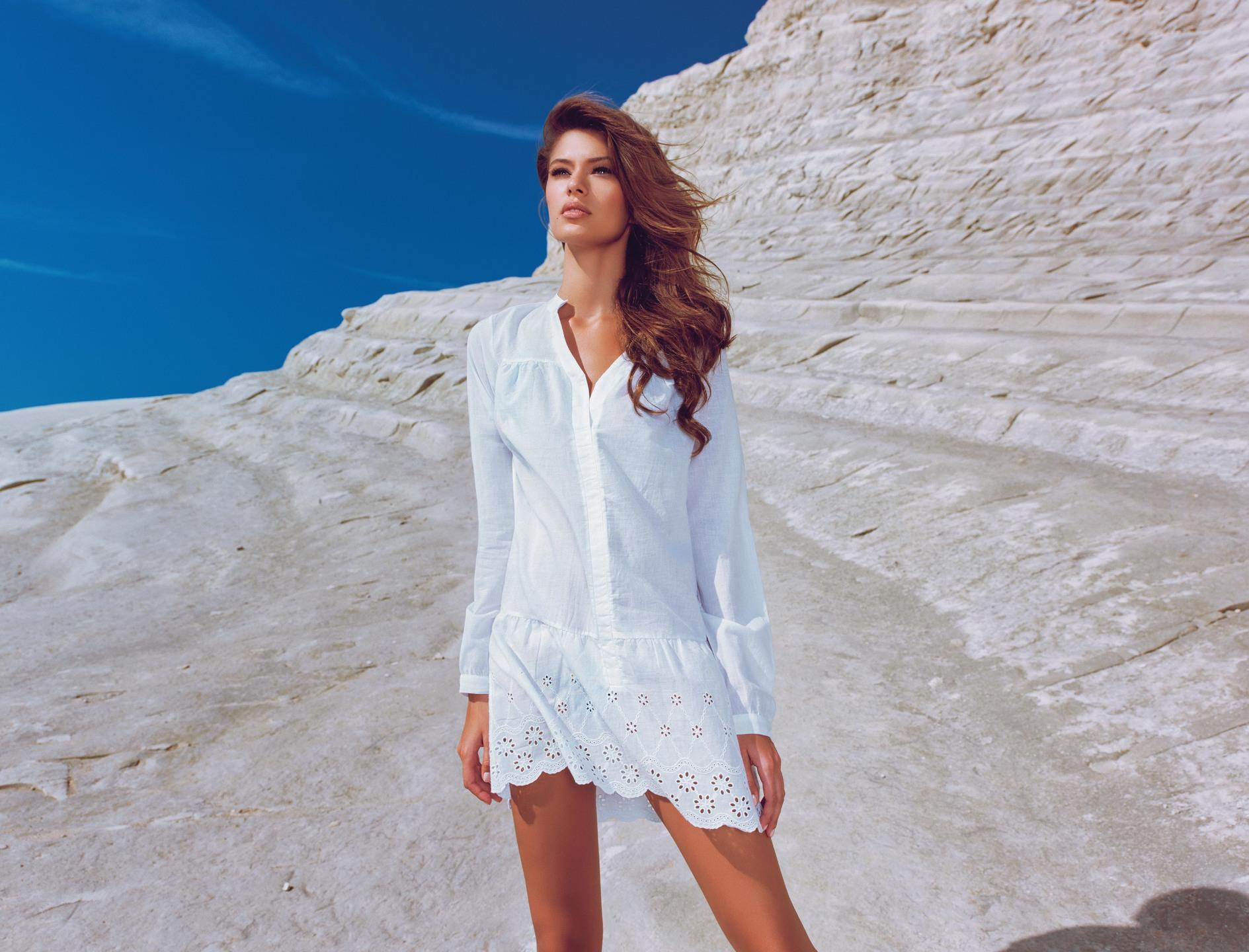 пляжная фотосессия в белом