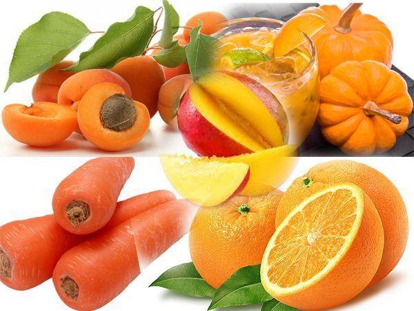Фрукты и овощи оранжевого цвета