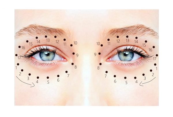 Последовательность нанесения крема на область вокруг глаз