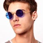 Круглые очки с синими стёклами