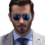 Круглые очки с синими зеркальными линзами