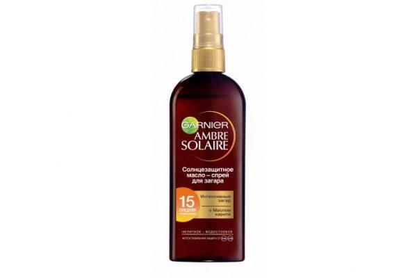 Солнцезащитное масло-спрей для загара Ambre Solaire SPF15 Garnier