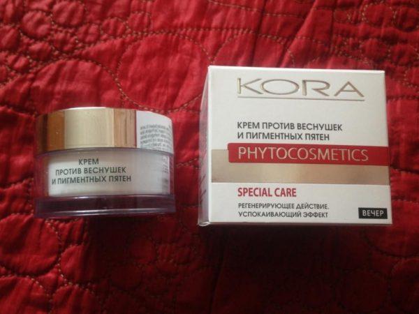 Крем против пигментных пятен и веснушек от KORA Phytocosmetics