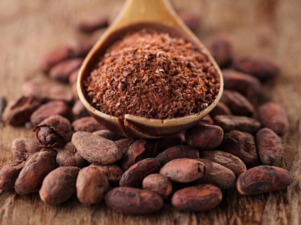 Молотый какао на деревянной ложке и зёрна какао