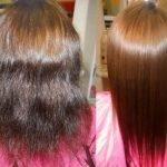 Объём волос до и после коллагенового обёртывания