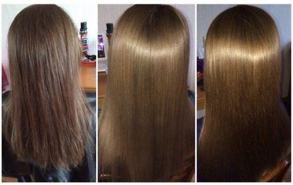 Волосы до коллагенирования и после нескольких процедур