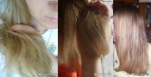 Кончики волос до и через месяц после начала использования маски для волос Белита-Витэкс ПРОТЕИНОВАЯ
