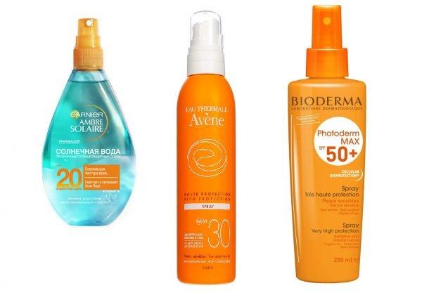 Солнцезащитные спреи для лица марок Garnier, Avene и Bioderma