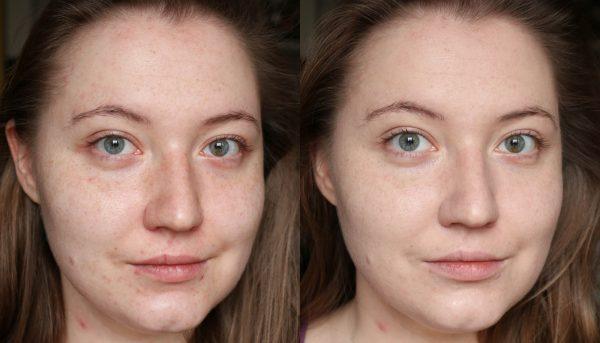 До и после нанесения ВВ-крема