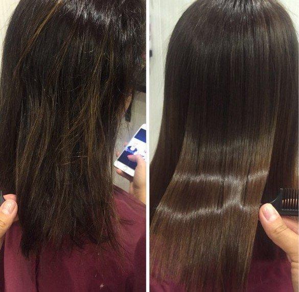 До и после глазирования волос