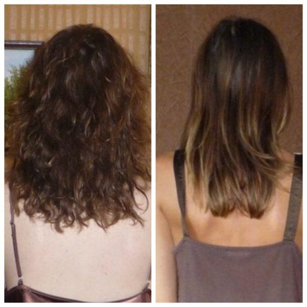 Волосы девушки до и после нескольких процедур термострижки