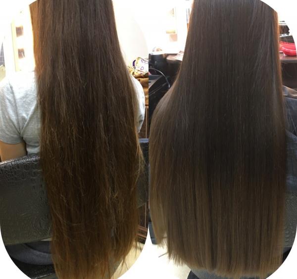Волосы девушки до и после термострижки