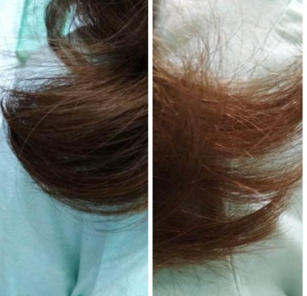 Волосы девушки после термострижки у опытного мастера и у новичка