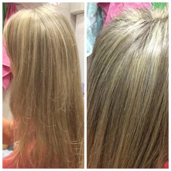 Волосы девушки до и после экранирования
