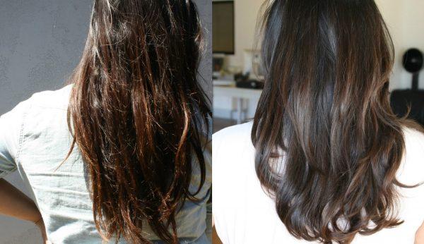 Волосы девушки до и после цветного экранирования