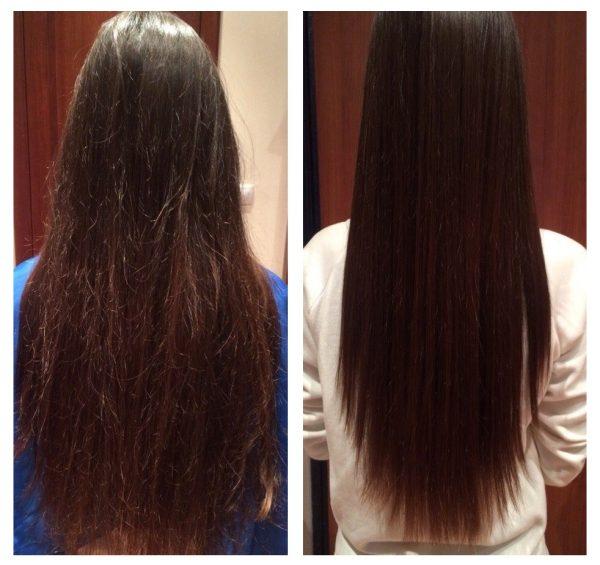 Полировка волос — до и после