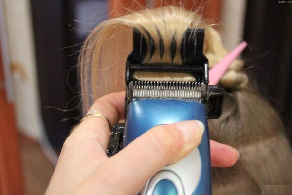 Полировка волос с помощью машинки