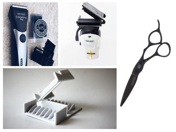 Инструменты для полировки волос — ножницы и машинка со специальной насадкой