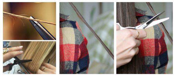Шлифовка волос с помощью ножниц