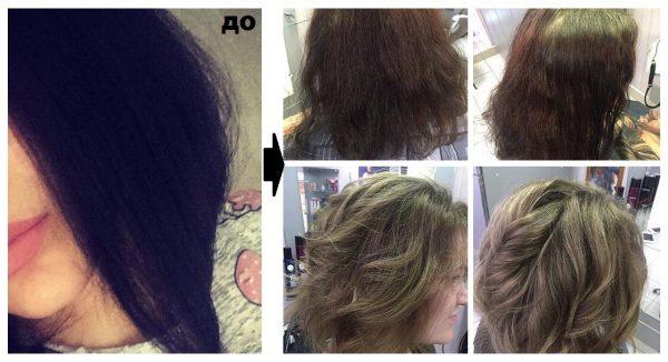 Декапирование волос из чёрного в пепельно-русый