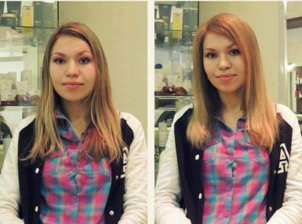 До и после процедуры буст ап для волос