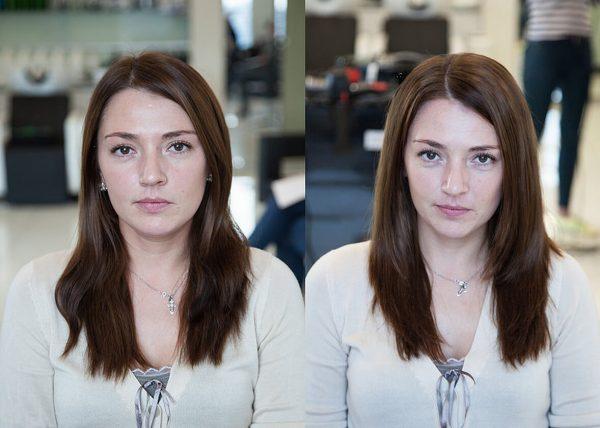До и после процедуры буффант для волос