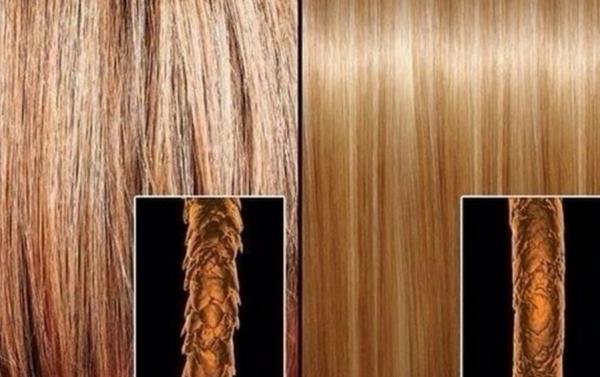 Волос до и после биоламинирования