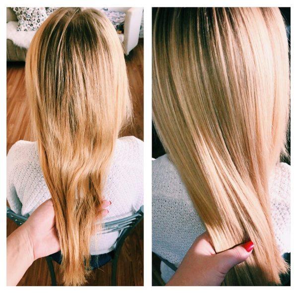 Волосы до/после холодного ботокса SOS от Felps