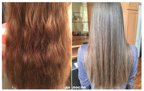 Волосы до/после холодного ботокса препаратом марки HP Firenze